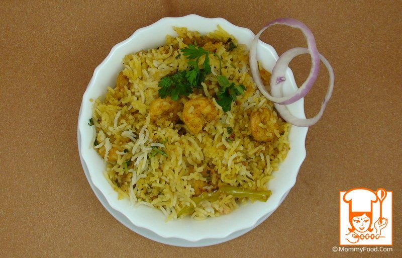 Hot and tasty prawns pulao is ready to serve :)