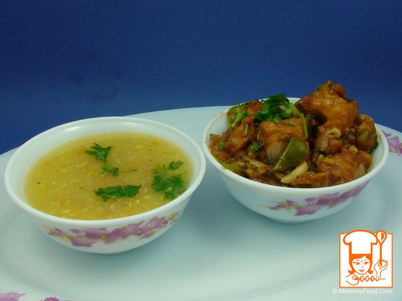 Chicken manchurian is a good combination of corn soup