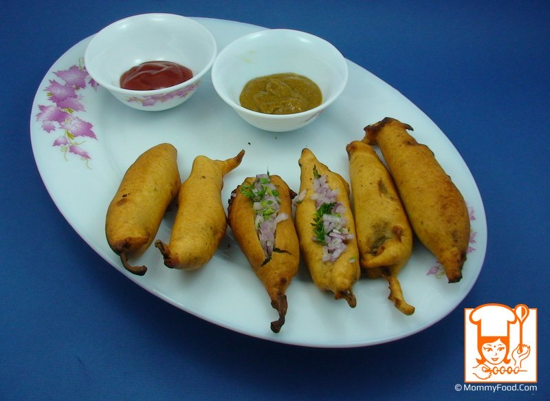Hot and tasty mirchi bajji's are ready, serve them with ginger chilly pickle or coconut chutney or tomato ketchup :)