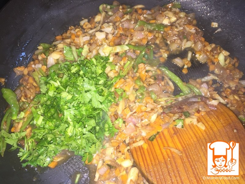 Step 8: Add chopped coriander leaves
