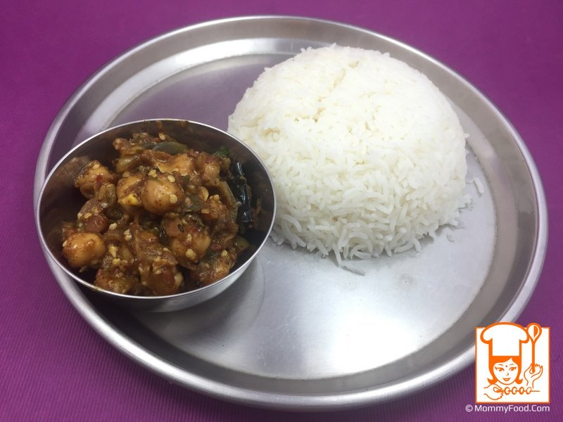 Menthi Karam Vankayi tastes good with hot steamed rice.