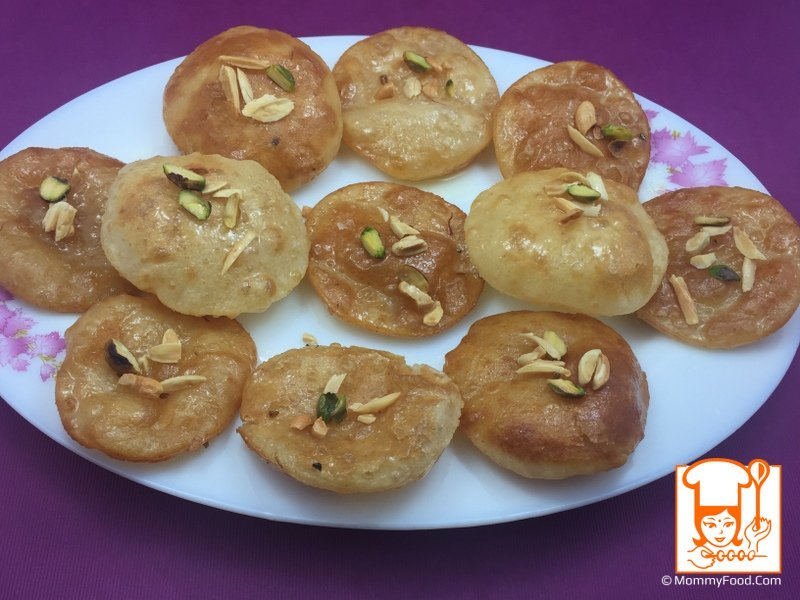 Sweet poori is ready to serve as snack for parties, kids birthdays :)