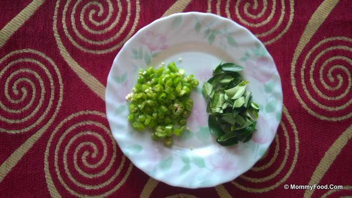 Chopped green chillies and curry leaves: Few