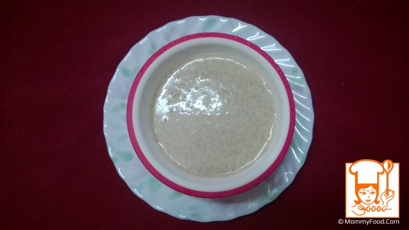 Let it come down to room temperature and take it into feeding bowl and feed tasty jaggery ragi porridge